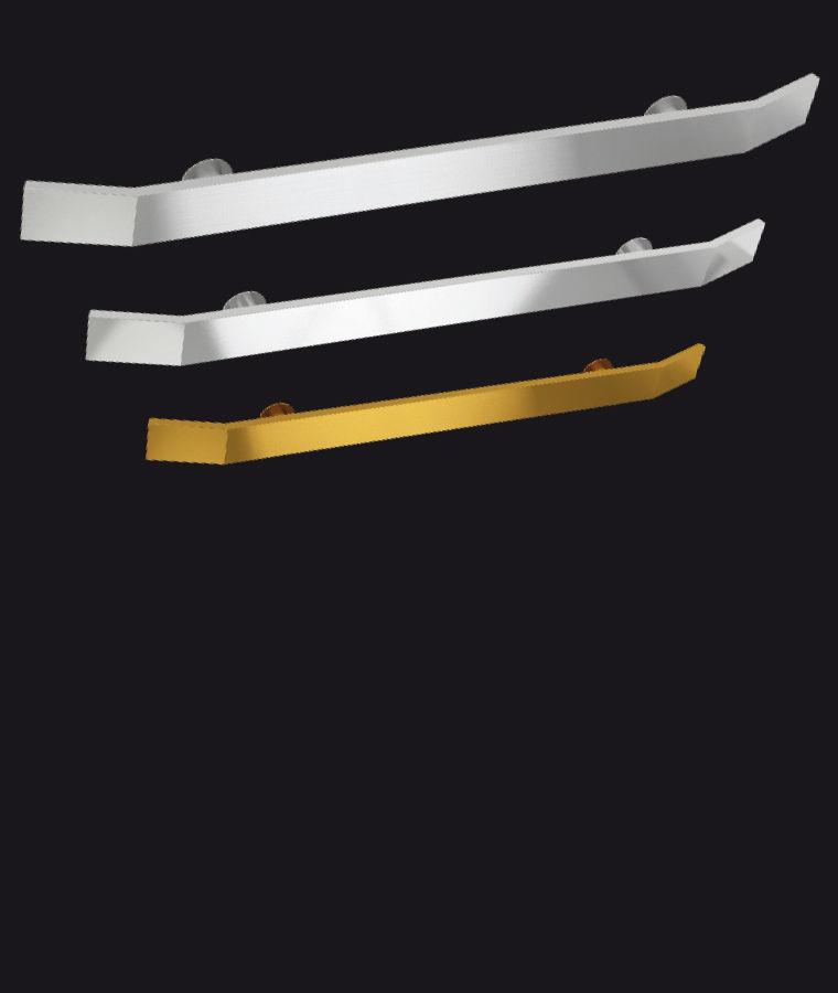 Disponibile in alluminio anodizzato naturale, brillantato e oro